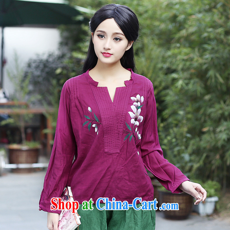 China classic Chinese Han-chinese improved T Ms. pension 2015 spring and summer, loose daily ethnic wind jacket red XXL