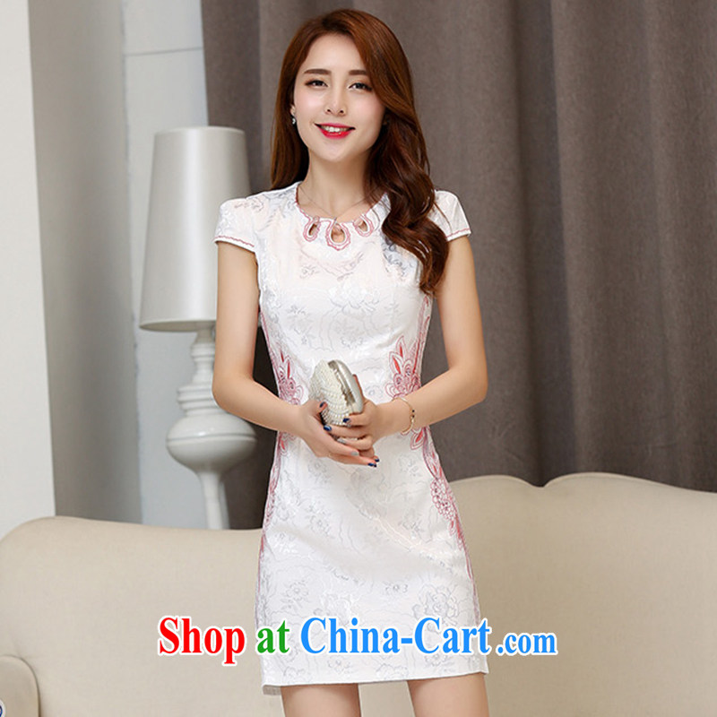 lostmojo Chinese small dresses short dresses daily retro elegant package and graphics thin beauty dresses summer 60,175 R White Red XXL