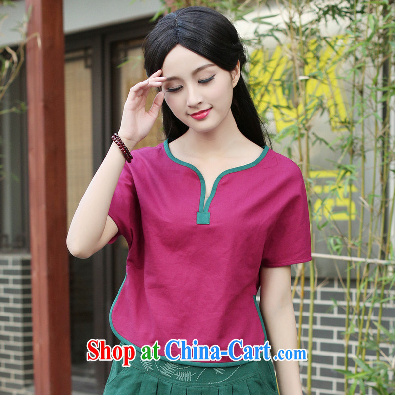 China classic Chinese style, serving improved cotton Ma Chinese Tang Women's clothes 2015 summer short-sleeved daily tea serve red XL