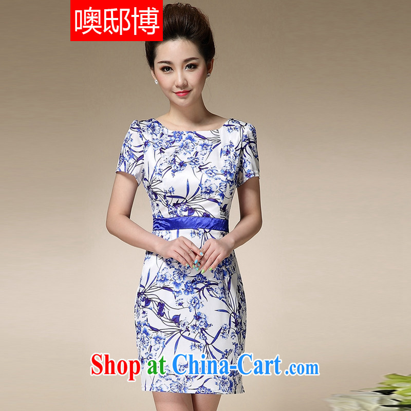 Oh, the 2015 summer beauty skirt dresses female blue and white porcelain stamp collection waist graphics thin mother with further than short-sleeved skirt blue XXXL