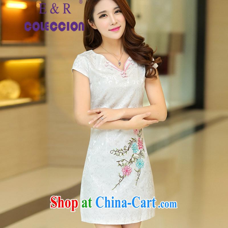 cheongsam dress 2015 new summer dresses short-waist graphics thin stylish improved cheongsam dress white XL