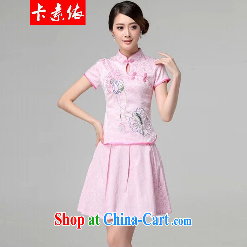 Card in accordance with our 2015 spring and summer female new beauty routine retro long-sleeved improved stylish outfit two piece with pink short-sleeved S