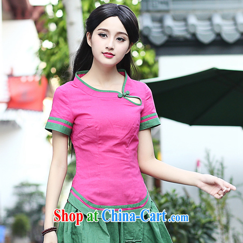 China classic original Han-chinese T-shirt, summer dresses T-shirt short-sleeved shirt T Chinese national costume Magenta XXL