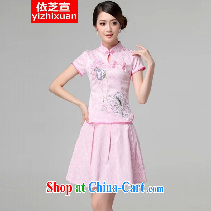 According to Chi-sun 2015 spring and summer female new beauty routine retro long-sleeved improved stylish outfit two piece with pink short-sleeved S