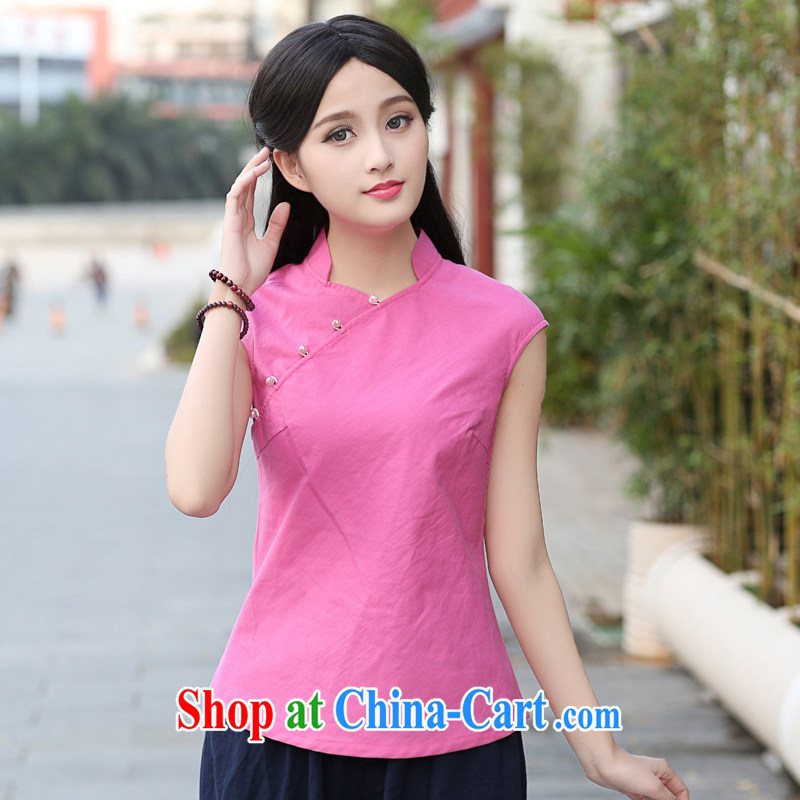 China classic original Chinese Han-tang is improved, daily summer dresses T-shirt artistic temperament T shirt Magenta XXL