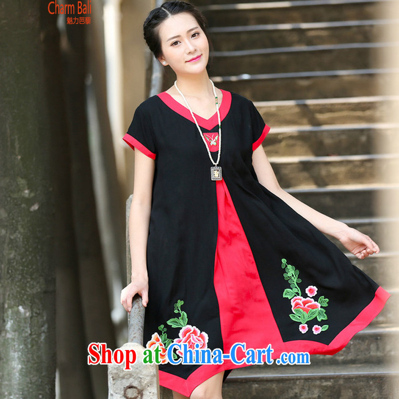 2015 summer edition korea leisure loose V collar short-sleeve embroidery Chinese style dress black XL