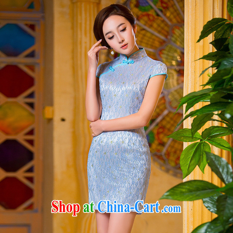 shez _ live 2015 spring and summer fashion improved cultivation cheongsam dress lace elegant beauty daily maximum code girl cheongsam dress dress gold accents blue XXL