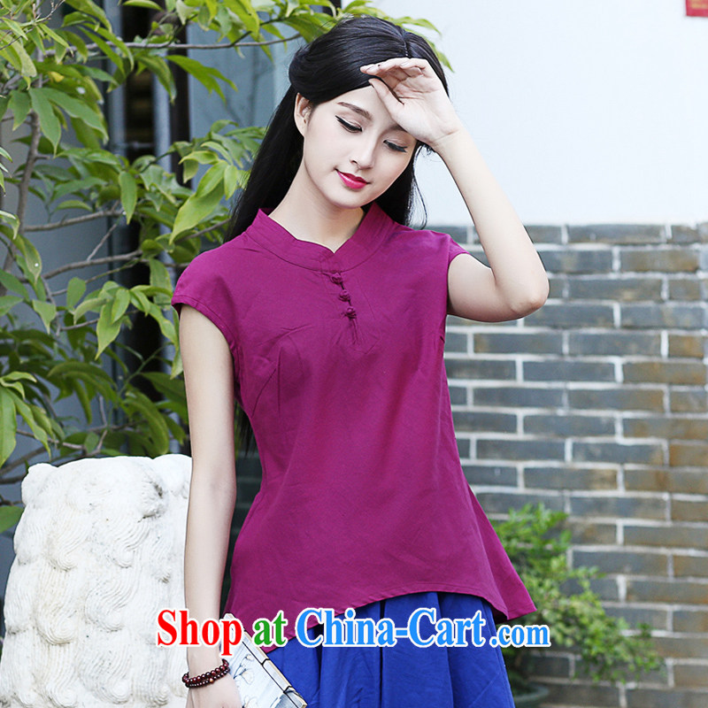 China classic Solid Color daily cotton Ma Chinese qipao Ms. T-shirt summer T pension literary tea service of Korea Ladies aubergine XXL