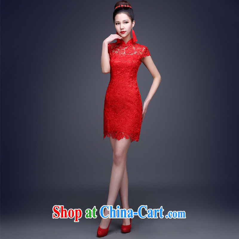 Toast clothing 2015 New Red lace short-sleeved high-waist pregnant women bridal wedding dress beauty dresses dresses short, short-sleeve can be set to Do not do not switch