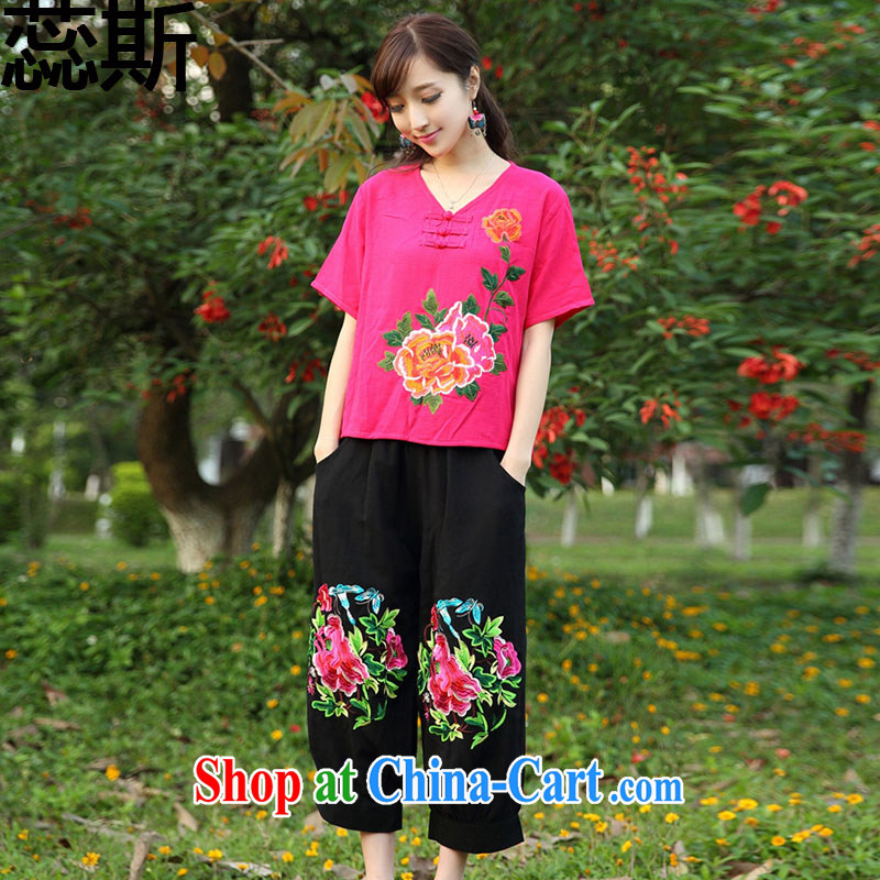 The acajou _2015 new summer Ethnic Wind linen embroidered cheongsam leisure two sets of 223 red T-shirt and black trousers are code