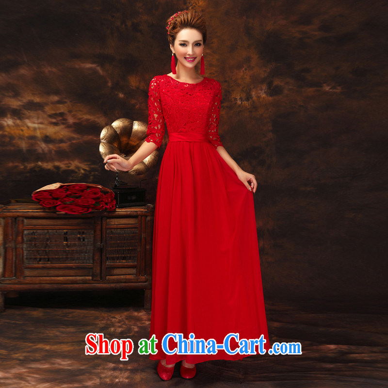 2015 New Red bridal wedding toast serving the Field shoulder lace beauty spring and summer new stylish evening dress red long, you can be sure do not return does not switch