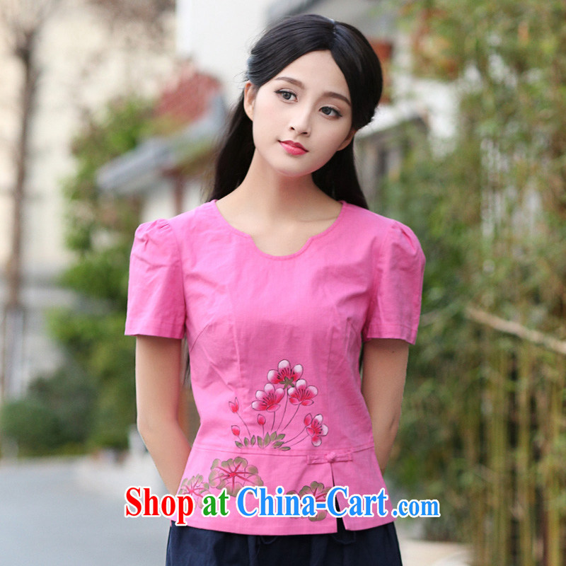 China classic original hand-painted cotton Ma China wind Tang Women's clothes 2015 summer arts day, served fresh small Magenta XXL