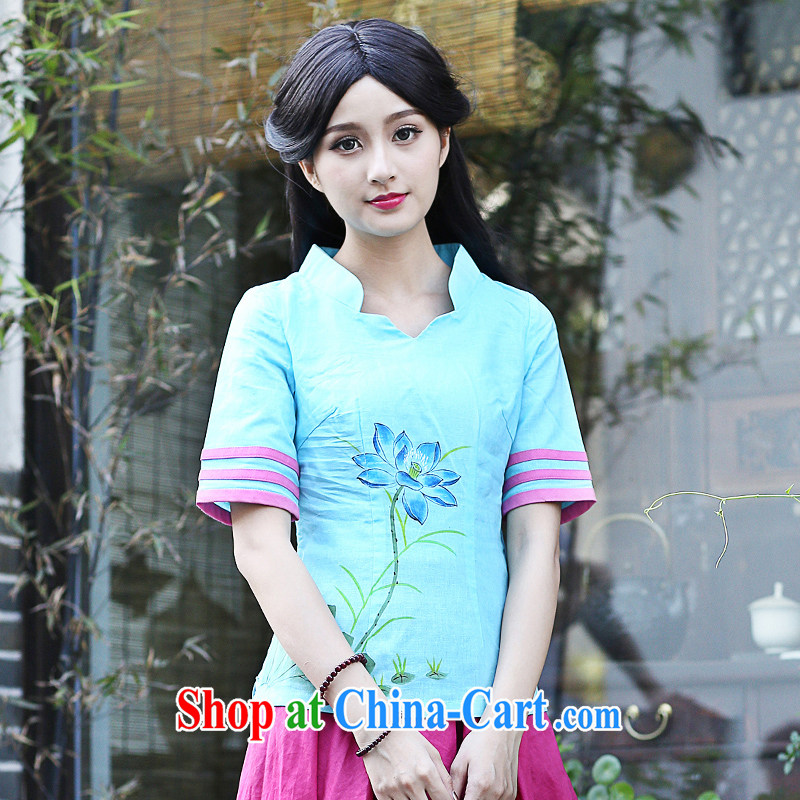 China classic improved Chinese culture and arts, daily summer original hand-painted cotton Ma T-shirt Han-shirt T New Products blue XXL