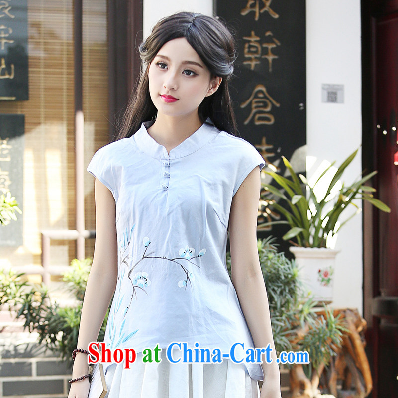 China classic hand-painted antique China wind Original Design cotton the Chinese shirt Women Korea summer arts van Lake blue XXL