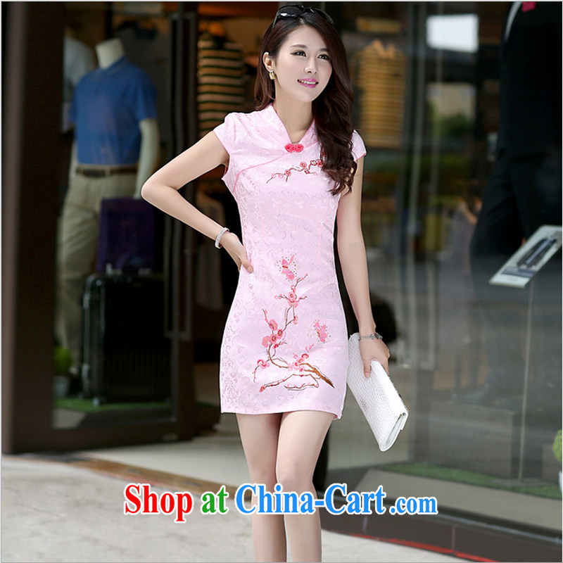 US-Iraqi advisory committee 2015 summer New Beauty video thin style short-sleeve dress embroidered improved cheongsam dress elegant Chinese Ethnic Wind pink XL