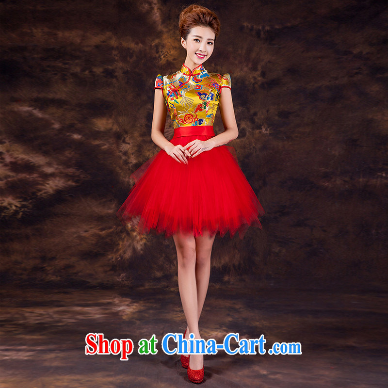 Toast clothing 2015 new summer dresses dresses improved Chinese marriage service performance sister dress shaggy dress short-sleeved Dragon can be do not return does not switch