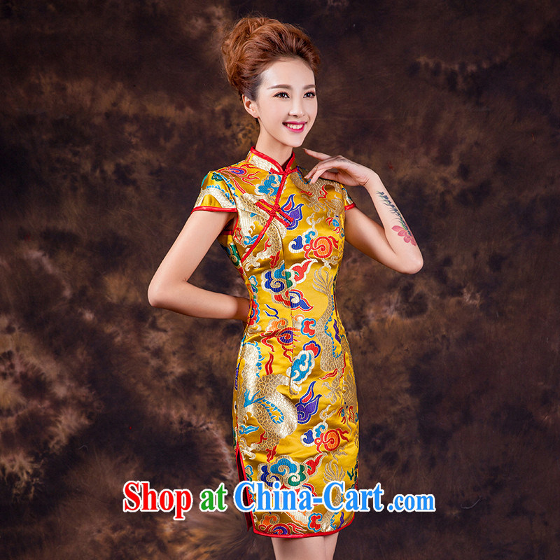 2015 spring and summer new dresses short, improved gold cheongsam Chinese bows serving Kowloon robe dress uniforms wedding gold can be made do not return does not switch