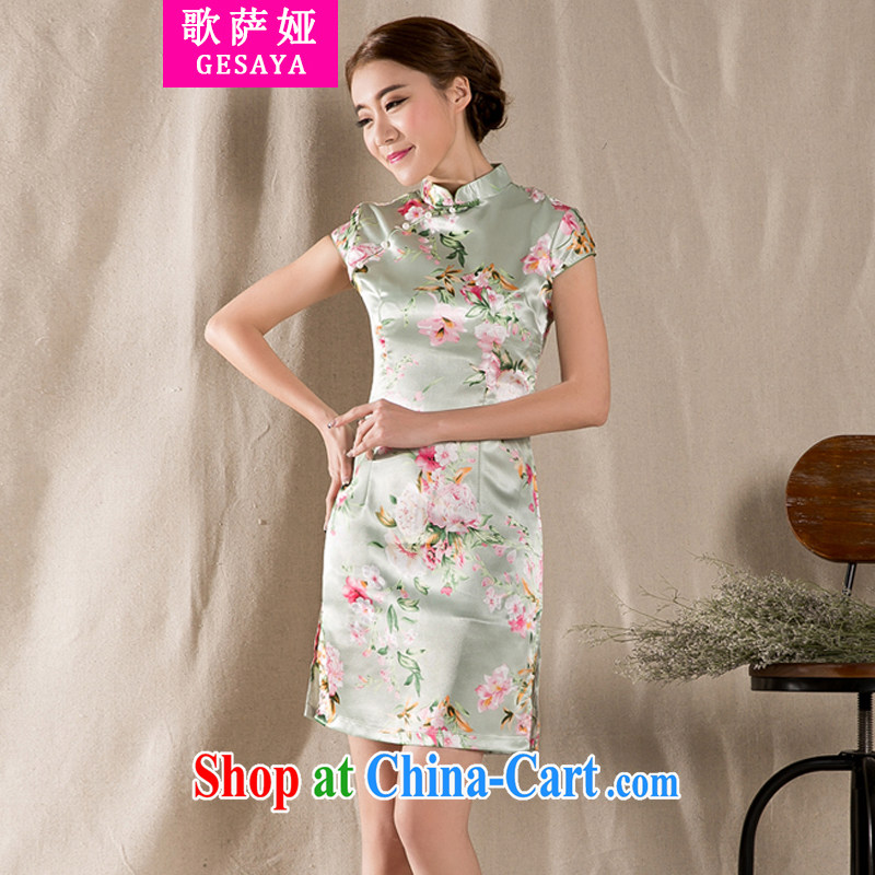 The song Julia summer 2015 new tray snap stamp arts and cultural Ethnic Wind improved antique cheongsam dress China wind suit XXL