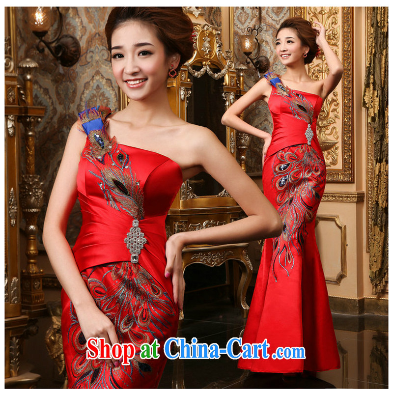 White first about serving toast summer 2015 new bride toast dress red long dress single shoulder crowsfoot cultivating their bows red M