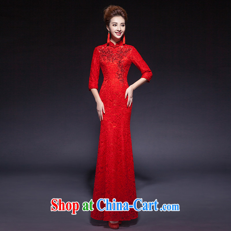 Toasting service 2015 new summer crowsfoot wedding dresses red short-sleeved Chinese lace a Field shoulder bridal gown red 7 sub-cuff can be made do not return does not switch
