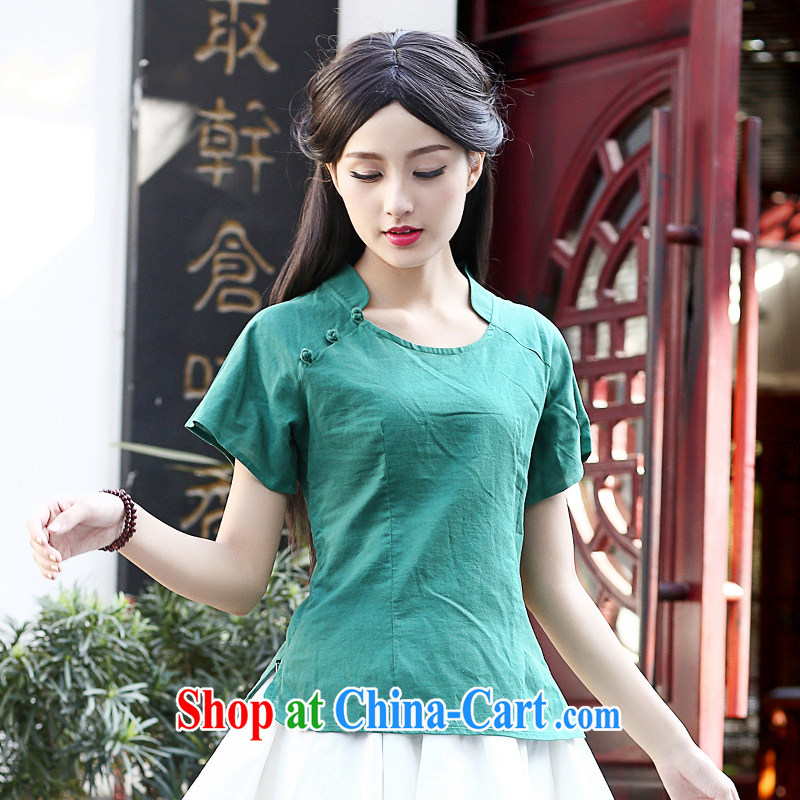 China classic Original Design China wind Chinese Nation Ms. wind summer hand-painted cotton Ma shirt daily arts green XXL