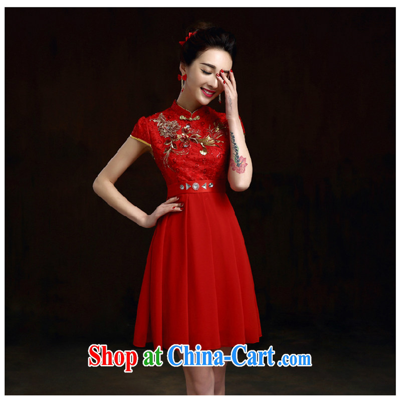 White first into some spring and summer evening dress 2015 new short, pregnant women dresses wedding toast service bridal gown red code graphics thin red XXL