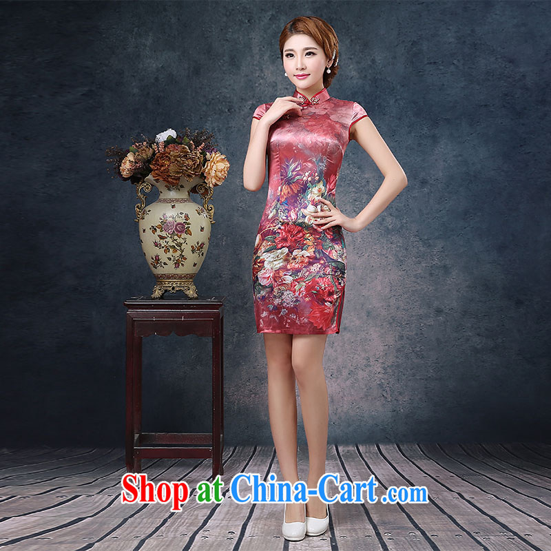 2015 spring and summer new cheongsam dress retro short-sleeved silk sexy beauty short improved day-flower cheongsam red XXL