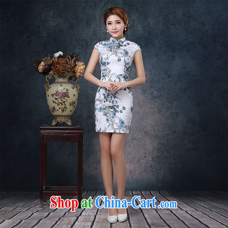 2015 new cheongsam dress, short-sleeved beauty graphics thin-waist improved daily outfit spring and summer mom with white XXL