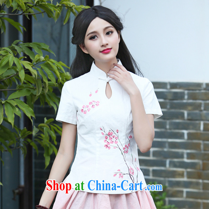China classic original antique art Chinese wind cotton Ma hand-painted shirt ethnic wind Chinese, summer T-shirt white XXL