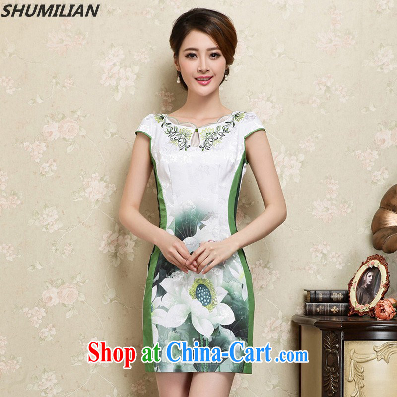 Mrs M, summer 2015 new stylish petal collar stamp cheongsam graphics style green XXL