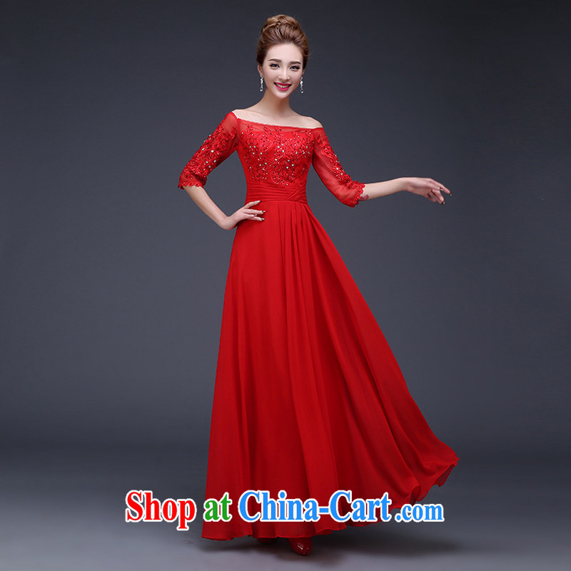Toasting Service Bridal Fashion 2015 spring and summer new wedding dresses one shoulder red long banquet dress red can be made do not return does not switch