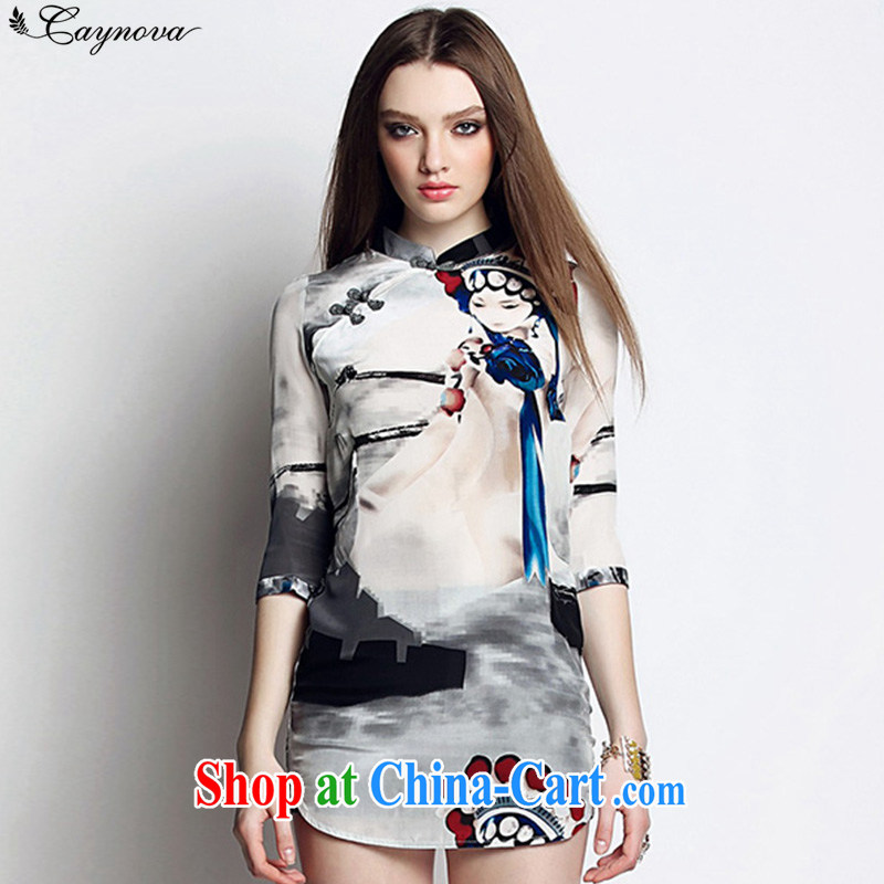 2015 Caynova new dresses summer dresses silk national Feng Shui ink pattern cheongsam short skirt pictures color XL