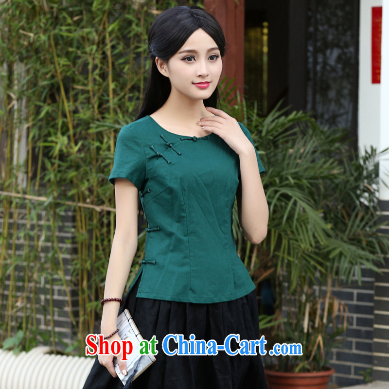 China classic Original Design Ethnic Wind Solid Color cotton Ma T-shirt Tang Women's clothes summer China wind Chinese arts green XXL