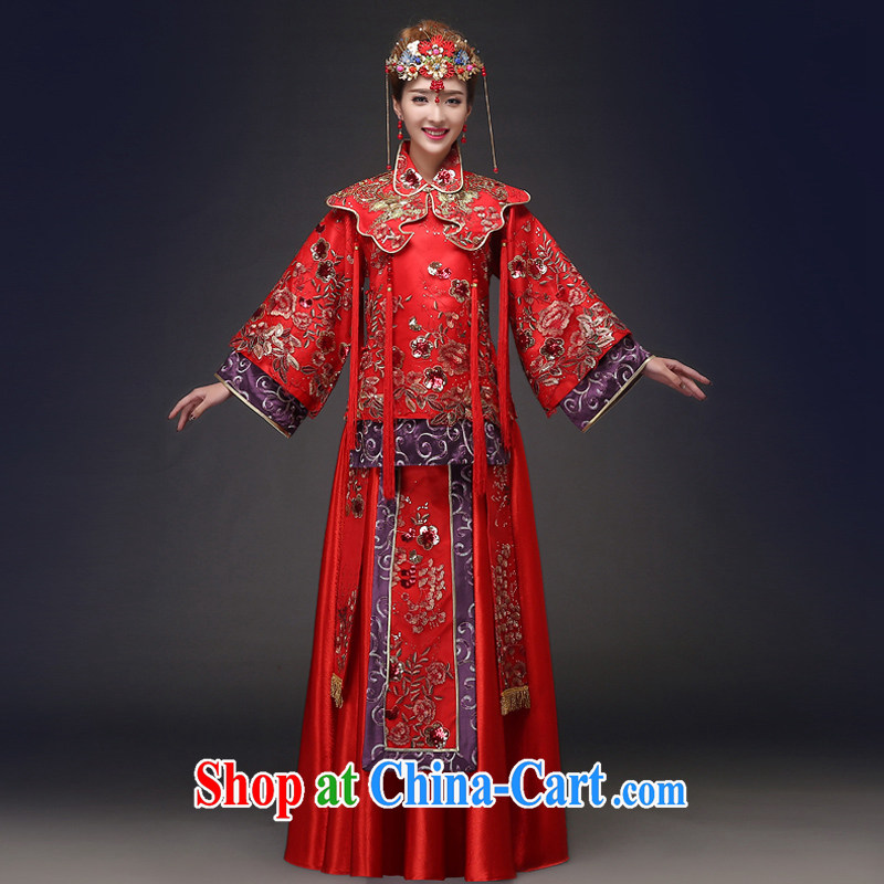 Show reel Service Bridal Chinese wedding dress red bows married Yi retro dresses 2015 spring and summer New Sau kimono red XXL