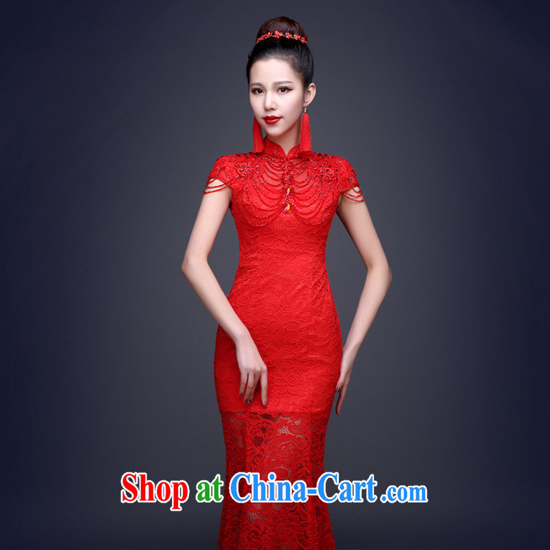 Marriages at Merlion Openwork long marriage toast serving retro improved 2015 New Evening Dress long dresses, the red can be do not return does not switch