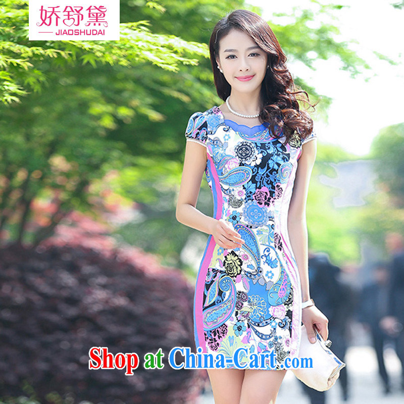Air Shu Diane 2015 new stretch cotton Ma dresses retro beauty everyday dresses skirts summer fashion to dress blue flower M