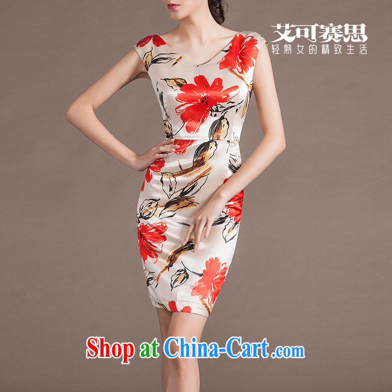 2015 summer commuter OL dresses and elegant graphics thin digital stamp dresses mother red