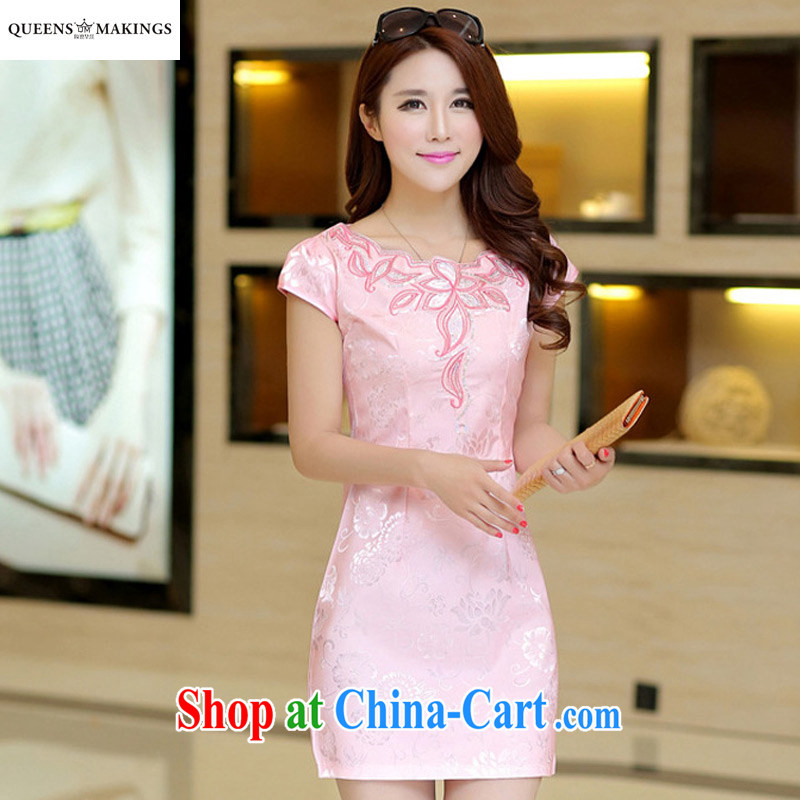 Summer 2015 new dress is improved cheongsam dress graphics thin beauty Ms. outfit aura daily dress 1601 pink XL