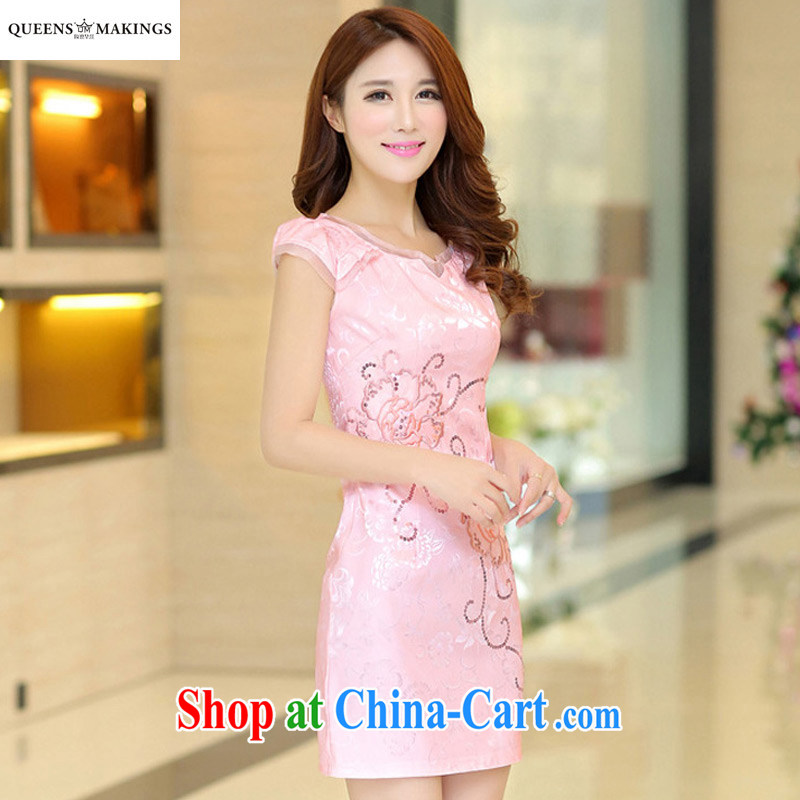 Summer 2015 new girls improved retro elegance cheongsam dress qipao cultivating Ethnic Wind embroidery dress 1602 pink XL