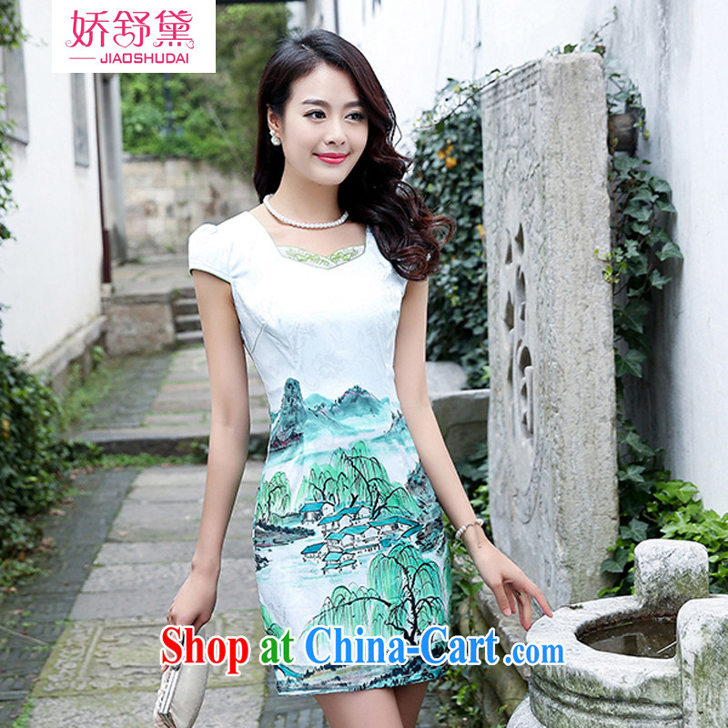 Air Shu Diane cheongsam dress short 2015 new summer day ceremony clothing beauty retro jacquard skirts female green willows XL