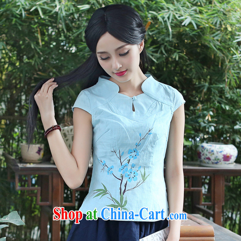 China classic summer hand-painted cotton mA short-sleeved T-shirt cheongsam Chinese, summer retro Chinese improved literary light green XXL