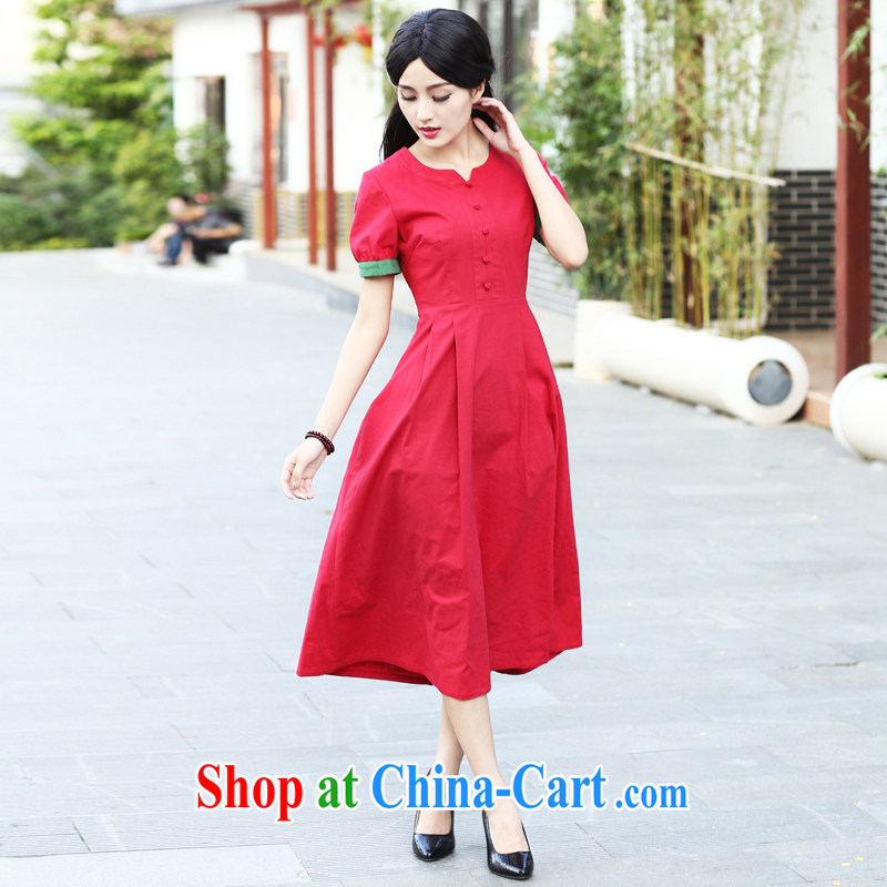 China classic original Solid Color cotton the daily, qipao dresses summer retro improved stylish art van red XXL