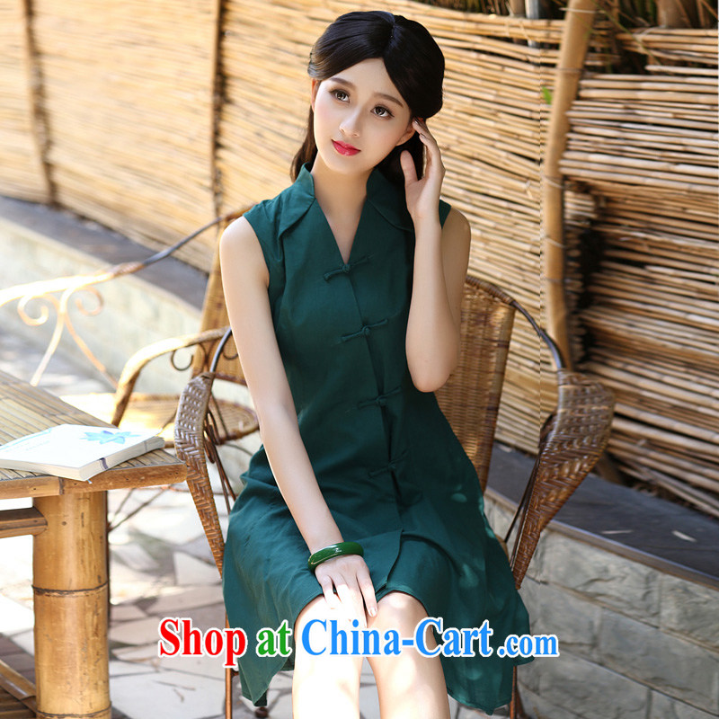 2015 new improved cotton the cheongsam dress summer day, retro style arts small fresh beauty copper Green S