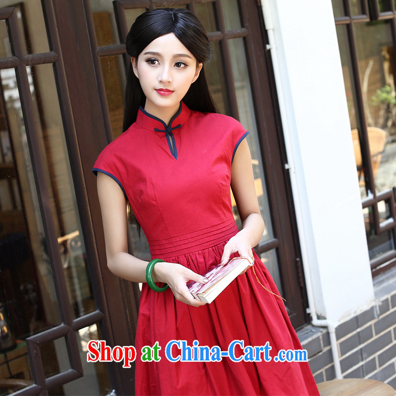 China classic original 2015 summer day, Ms. Yau Ma Tei cotton cheongsam dress improved retro art, female Red L
