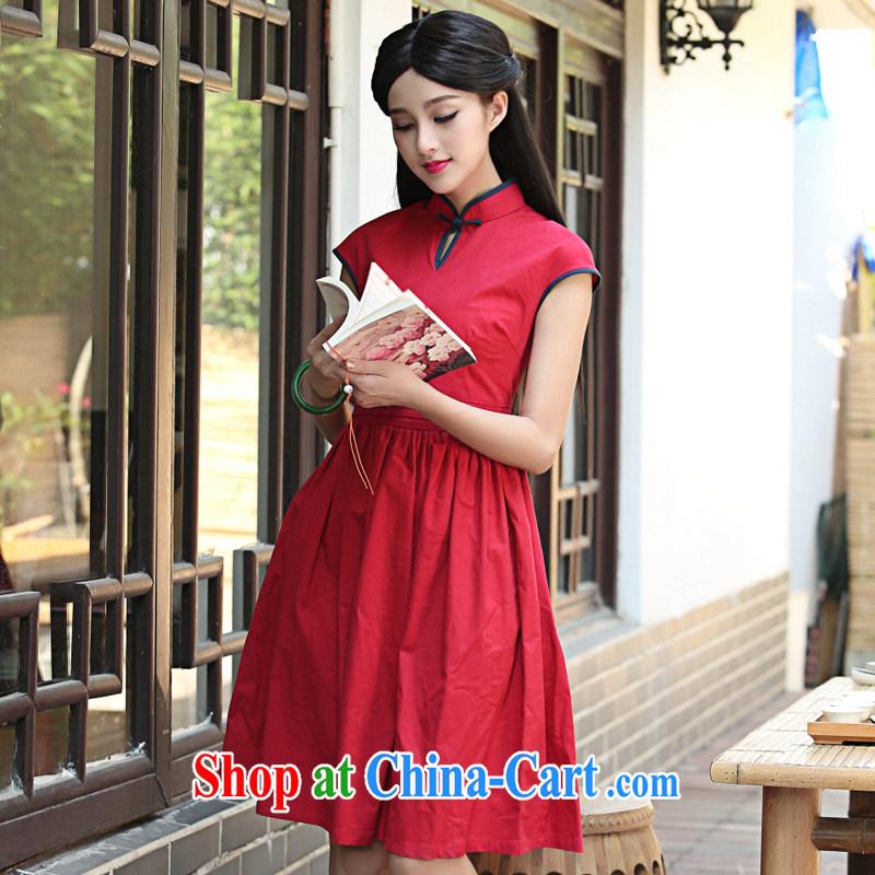 China classic original 2015 summer day, Ms. Yau Ma Tei cotton cheongsam dress improved retro art, female Red L, China Classic (HUAZUJINGDIAN), and, on-line shopping