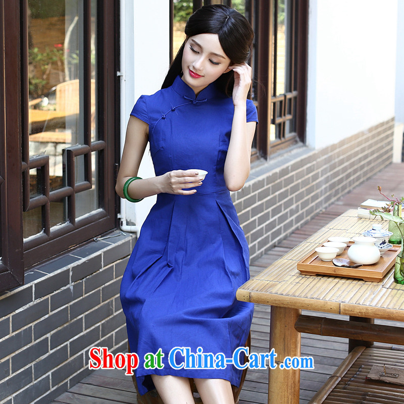 2015 new units the commission Ms. antique dresses day dresses summer improved fashion style arts small fresh blue L