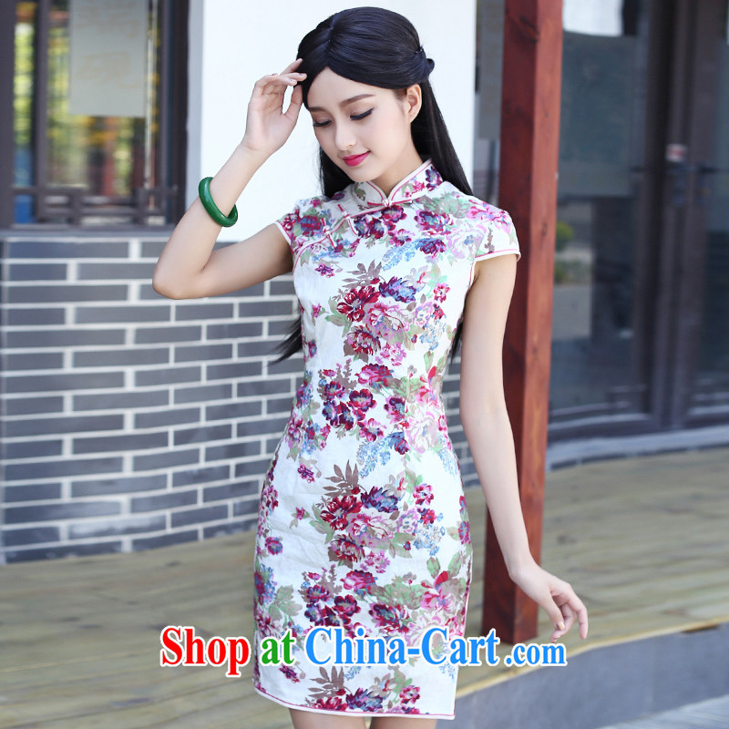 2015 summer new short-sleeved daily, improved cheongsam dress style graphics thin beauty short, literature and art, fancy XXXL