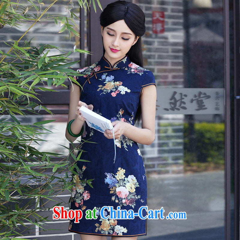 China classic 2015 new dresses summer dresses short-sleeved short improved daily video thin Chinese qipao dress blue XXXL