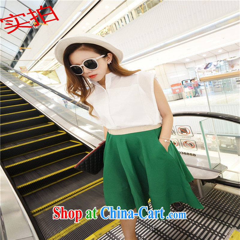 Ya-ting store summer 2015 New Europe, larger female snow-woven dresses solid color shirt Large Body skirt two sets of picture color S