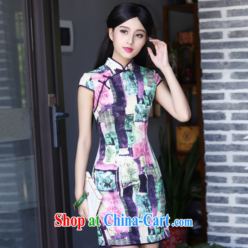 China classic cotton stamp duty, short cheongsam dress retro daily improved fashion style summer qp red XXXL